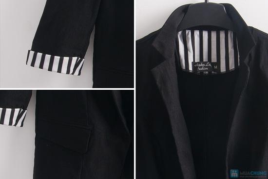 Áo khoác giả vest tay lật đen trắng - 7