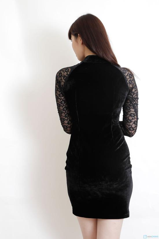 Váy nhung phối ren - 4