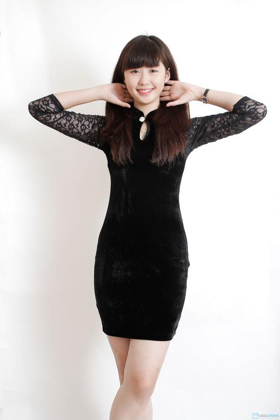 Váy nhung phối ren - 6
