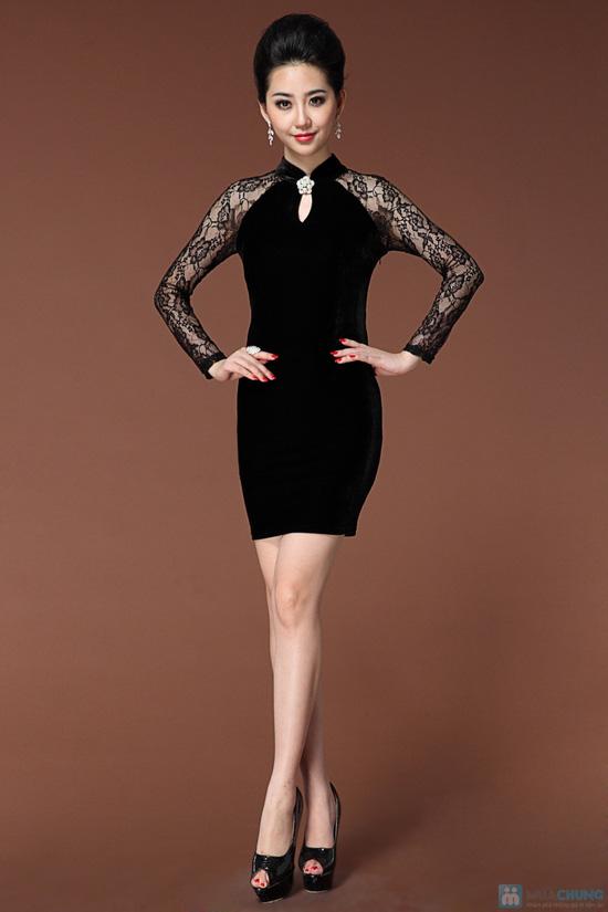 Váy nhung phối ren - 2