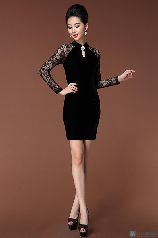 Váy nhung phối ren - 3