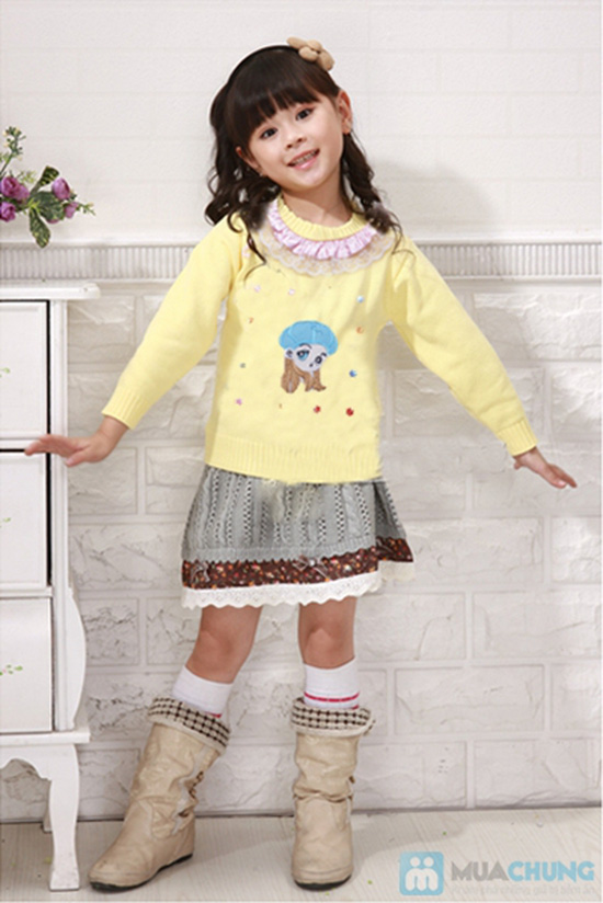áo len cài cúc cho bé gái - 11