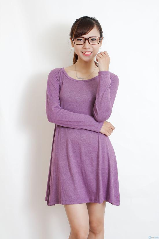 Váy thun len dài tay màu trơn - 2
