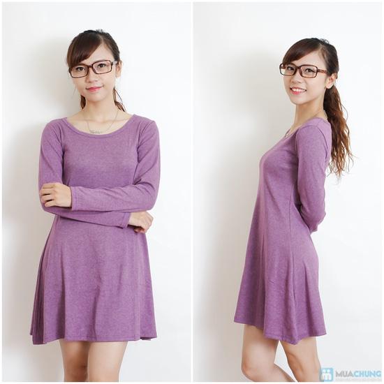 Váy thun len dài tay màu trơn - 5
