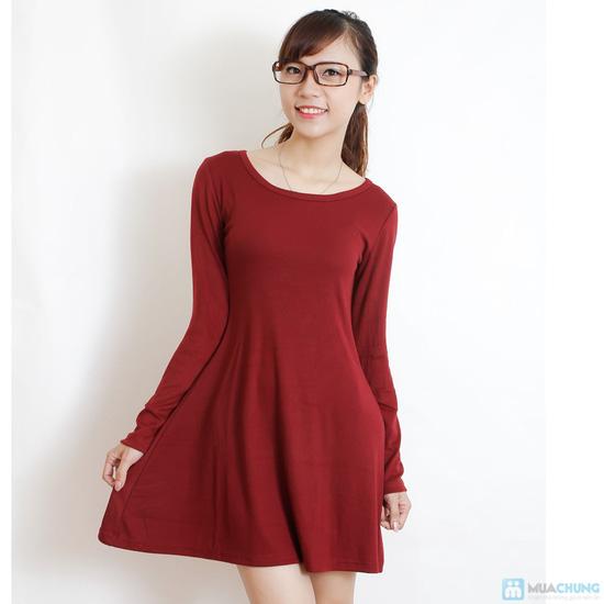 Váy thun len dài tay màu trơn - 3