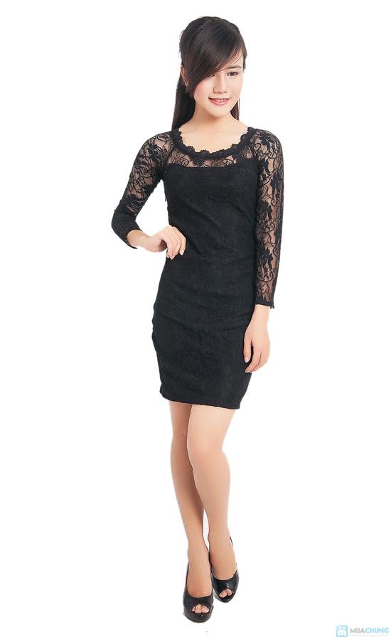 Đầm ren đen body tay lỡ - 1
