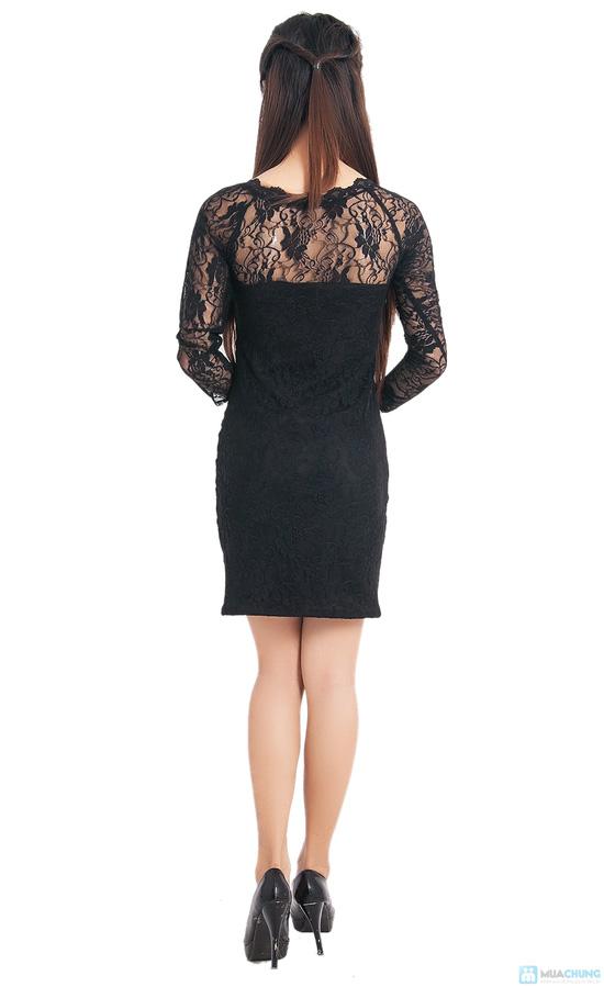 Đầm ren đen body tay lỡ - 5