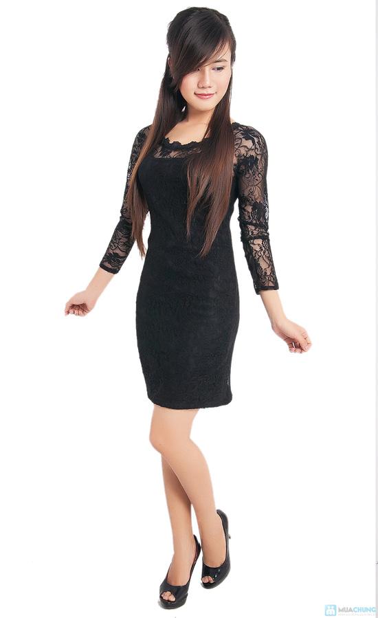 Đầm ren đen body tay lỡ - 6