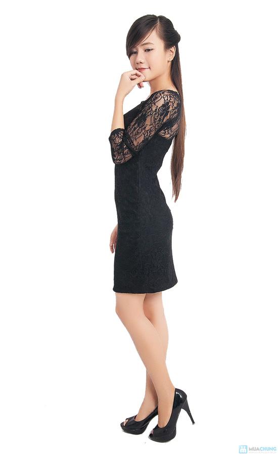 Đầm ren đen body tay lỡ - 4