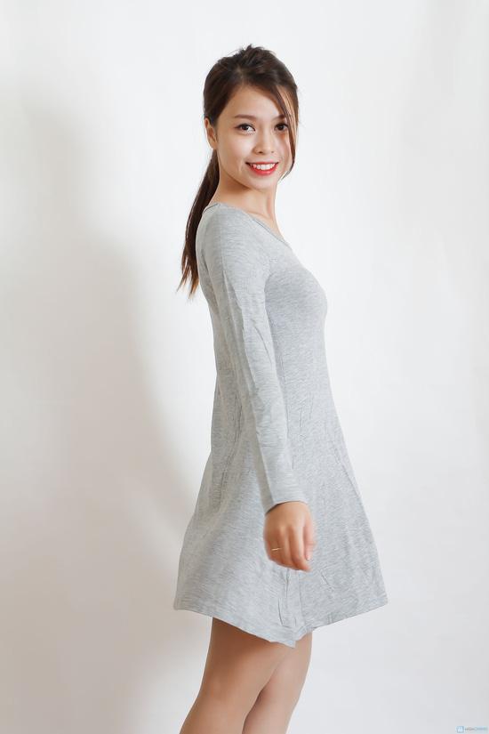Váy thun len dài tay màu trơn - 1