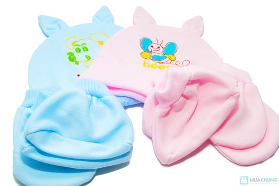 Combo 4 bộ nón + bao tay + bao chân cho bé sơ sinh - 5
