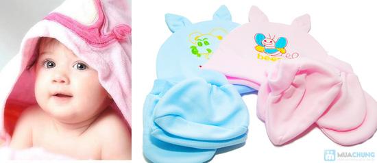 Combo 4 bộ nón + bao tay + bao chân cho bé sơ sinh - 8
