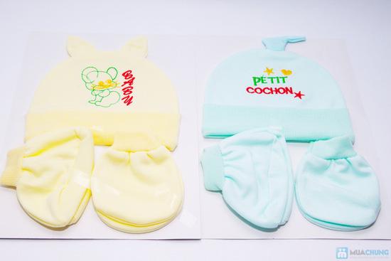 Combo 4 bộ nón + bao tay + bao chân cho bé sơ sinh - 1