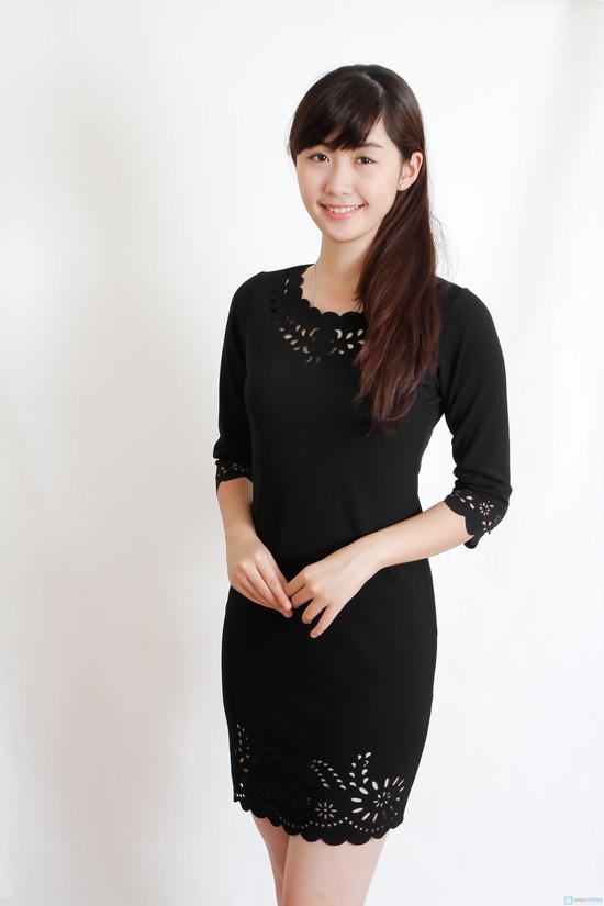 Váy đen cắt laze cho nữ - 11