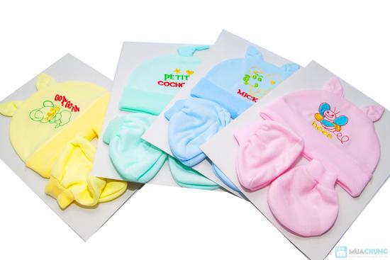 Combo 4 bộ nón + bao tay + bao chân cho bé sơ sinh - 4