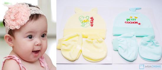 Combo 4 bộ nón + bao tay + bao chân cho bé sơ sinh - 7