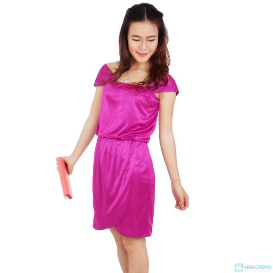Đầm tím phi bóng eo bo thun - 2