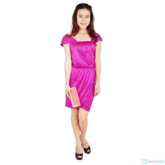 Đầm tím phi bóng eo bo thun - 1
