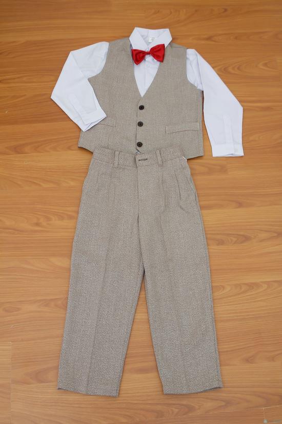 Bộ quần áo gi lê kèm cavat và áo trắng cho bé - 4