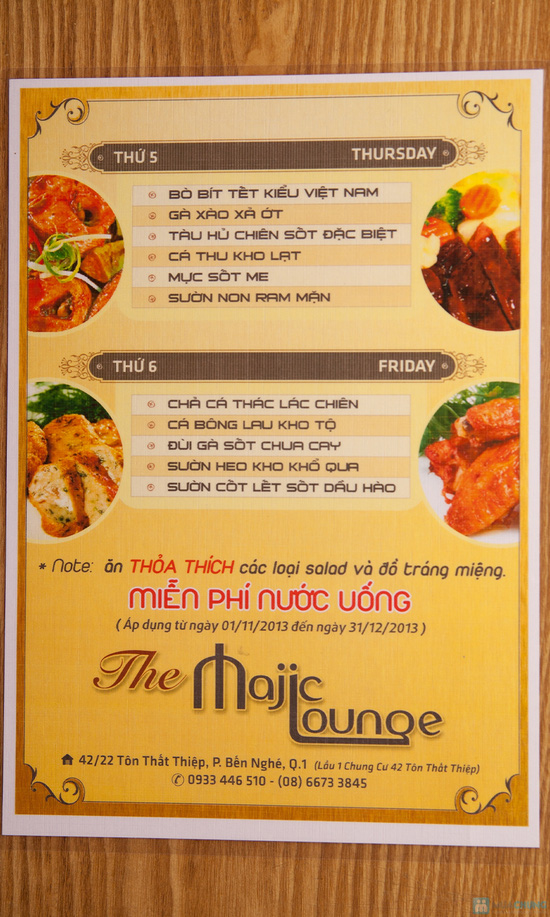 Cơm trưa + Buffet rau + trái cây tráng miệng + nước uống cho 02 người tại Nhà hàng Magic Lounge - 11