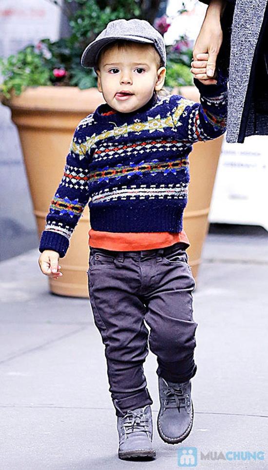 Áo len cổ tròn phối màu cho bé trai - 10