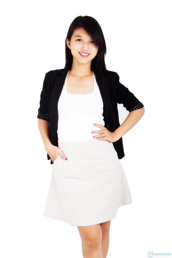 Áo vest nữ phối tay chấm bi - 2