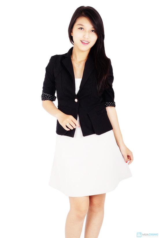 Áo vest nữ phối tay chấm bi - 1