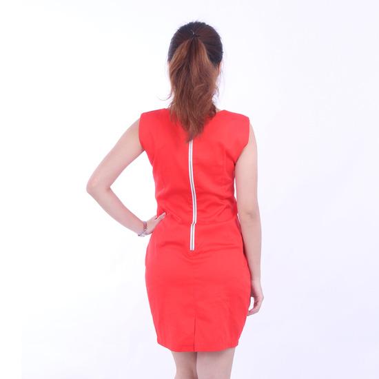 Đầm cam công sở phối dây kéo nổi sang trọng