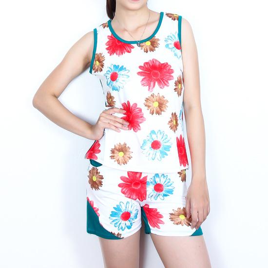 Bộ quần short áo sát nách cotton hoa xinh xắn
