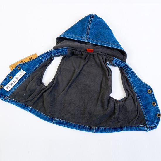 Áo gile bò có mũ, lớp lót dày dặn