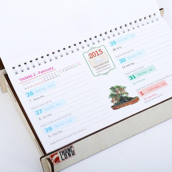 Combo 2 lịch bàn khung gỗ