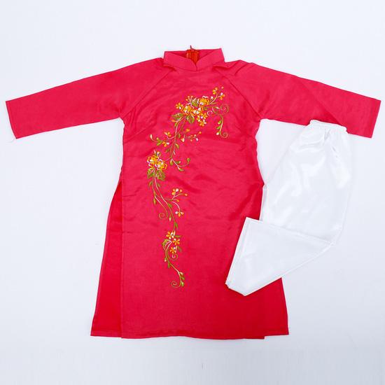 Bộ áo dài lụa thêu hoa văn cho bé