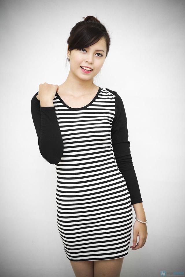 Váy kẻ ngang dài tay cho bạn gái vẻ đẹp trẻ trung, cá tính - Chỉ với 95.000đ - 2