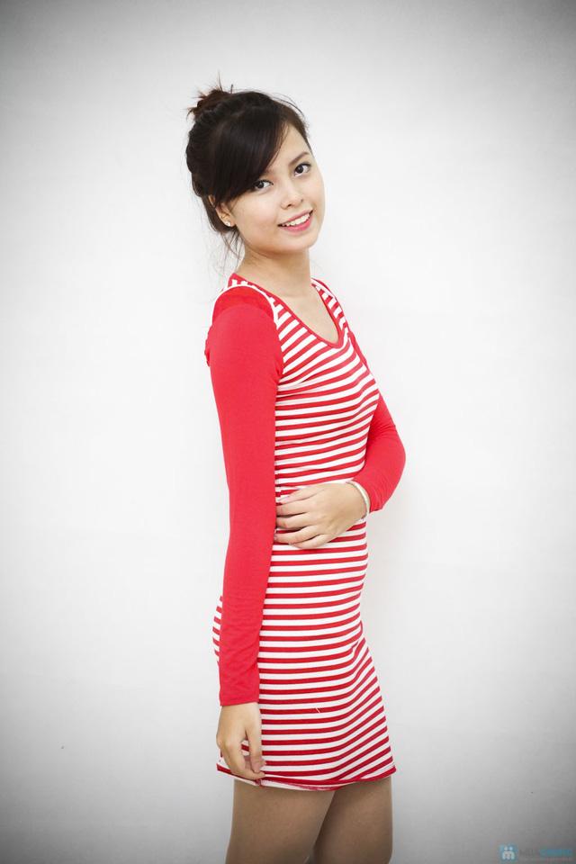 Váy kẻ ngang dài tay cho bạn gái vẻ đẹp trẻ trung, cá tính - Chỉ với 95.000đ - 3