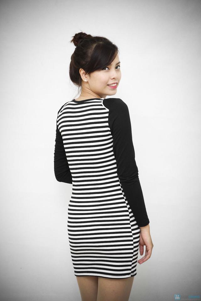 Váy kẻ ngang dài tay cho bạn gái vẻ đẹp trẻ trung, cá tính - Chỉ với 95.000đ - 4