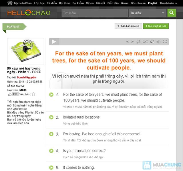 Thẻ học tiếng Anh trực tuyến HelloChao.vn cho 360 ngày,  tặng thêm 01 thẻ học 180 ngày - Chỉ 100.000đ - 6