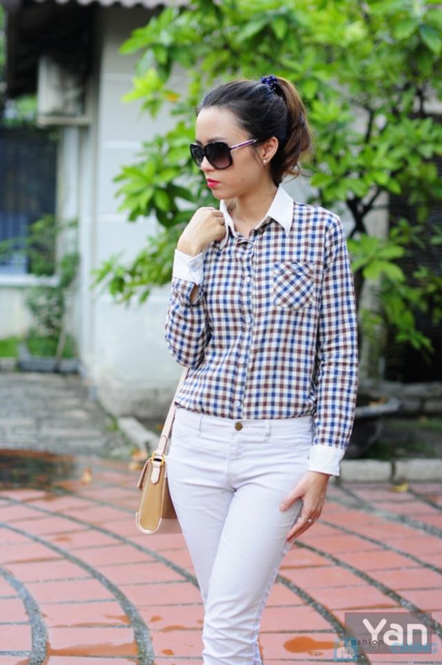Tự tin khoe cá tính với áo sơ mi nữ sọc caro Yan Fashion - Chỉ 129.000đ/01 Chiếc - 3