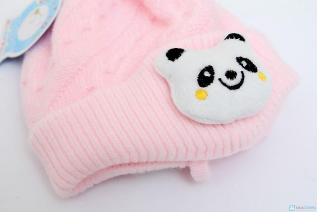 Mũ len hình thú có quai ấm áp cho bé - 5