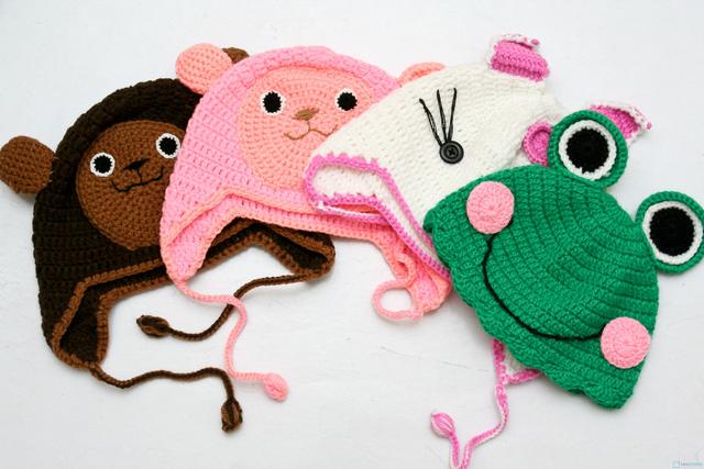 Mũ len hình con vật móc tay cho bé - 7