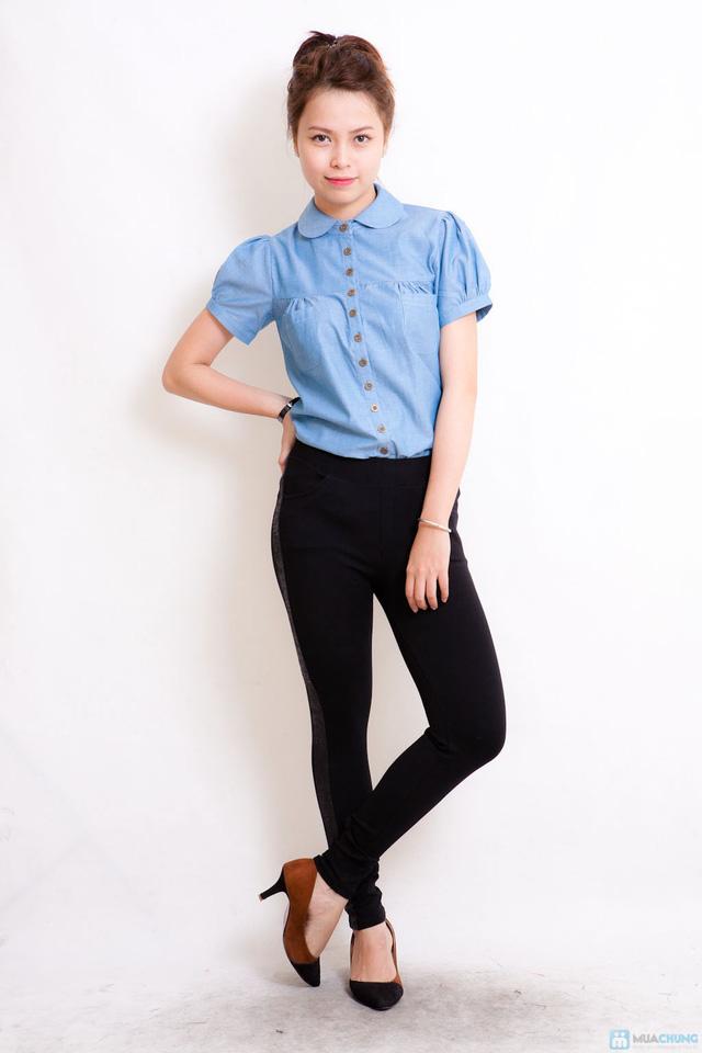 Áo denim tay bồng trẻ trung và phong cách cho bạn gái - 1