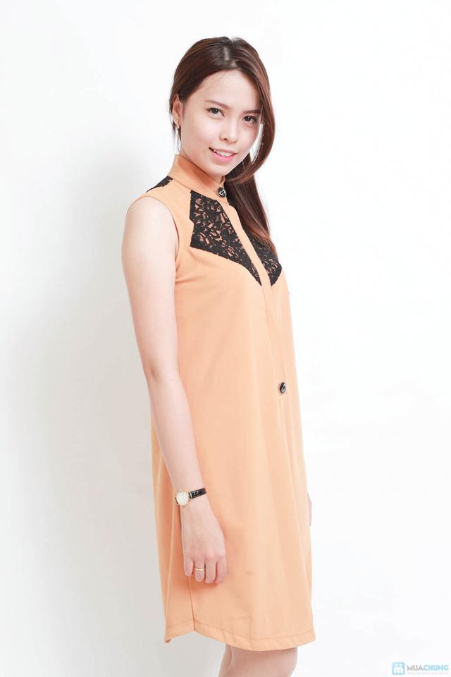 Cá tính với váy suông phối ren cao cấp - 1