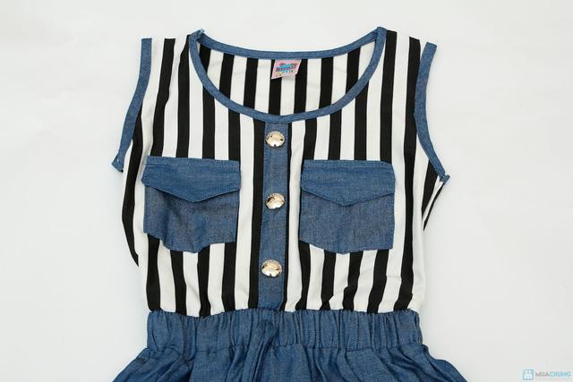 váy thu denim cách điệu cho bé gái - 4