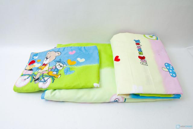 bộ vỏ chăn+ 2 gối + 1 ga chun cotton nhung 1m6 x 2m họa tiết hoạt  hình cho các bé - 5