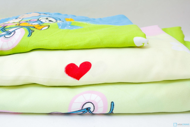 bộ vỏ chăn+ 2 gối + 1 ga chun cotton nhung 1m6 x 2m họa tiết hoạt  hình cho các bé - 1