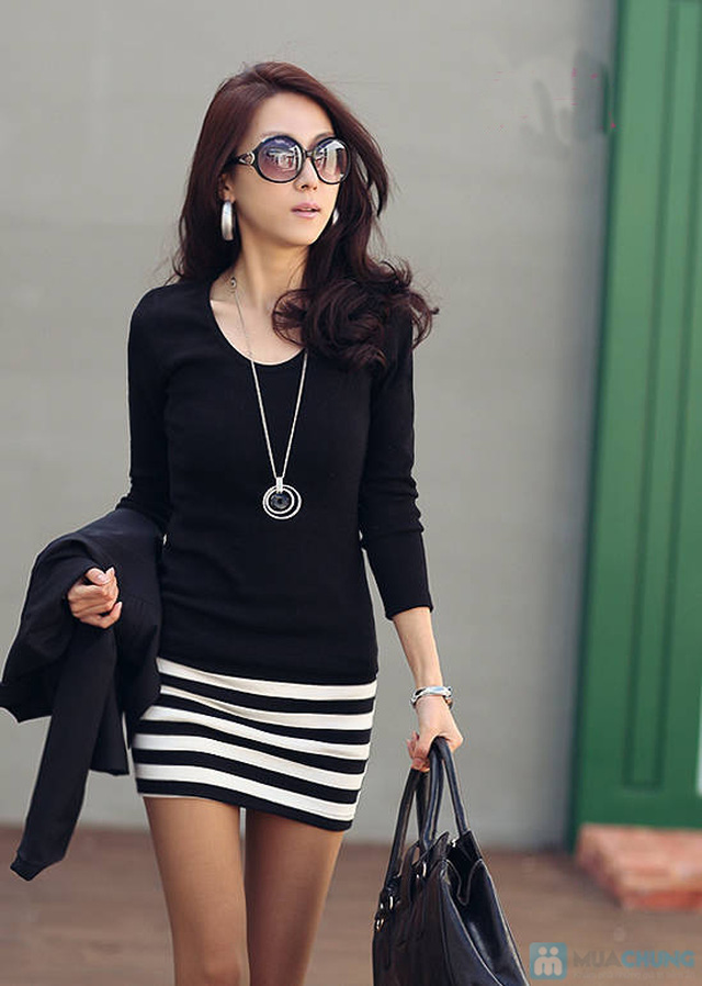 Váy cotton blend nữ chân váy kẻ - 6