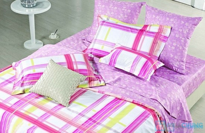 Bộ drap cotton Thắng Lợi (1 drap, 1 mền, 1 vỏ gối ôm, 2 vỏ gối nằm) - 1