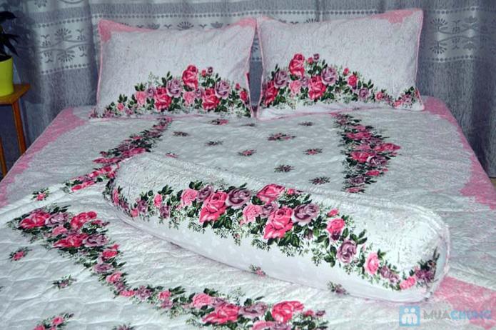 Bộ drap cotton Thắng Lợi (1 drap, 1 mền, 1 vỏ gối ôm, 2 vỏ gối nằm) - 9