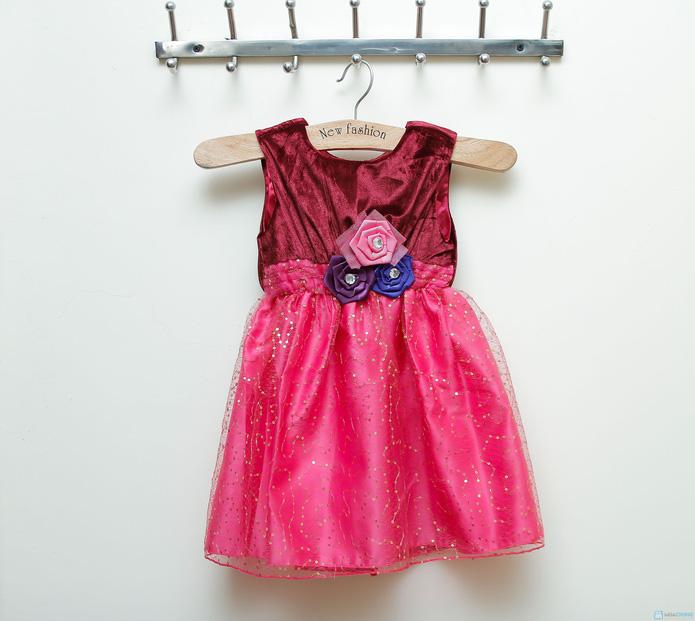 Váy nhung phối kim sa cực đáng yêu cho bé gái  - 8