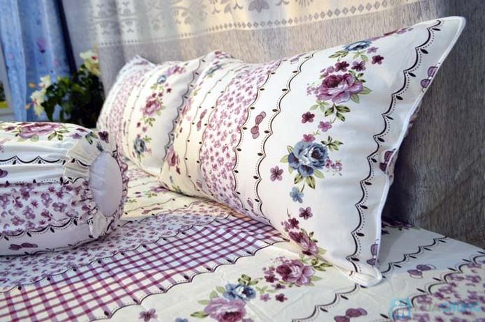 Bộ drap cotton Thắng Lợi (1 drap, 1 mền, 1 vỏ gối ôm, 2 vỏ gối nằm) - 2
