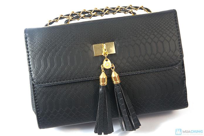 Túi xách da rắn khóa vàng - 2